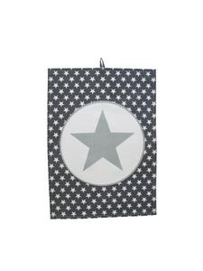 Krasilnikoff Geschirrtuch Big Star grau-weiß