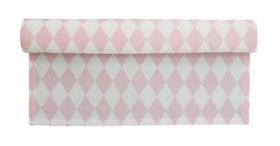 Krasilnikoff Tischläufer rosa weiß Harlekin