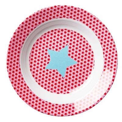 Rice Melamin Kinderteller Star rosa -tief 20 cm Durchmesser
