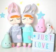 Hasenpuppe, personalisierte Puppe Hase , Mint