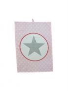 Krasilnikoff Geschirrtuch Big Star rosa-weiß