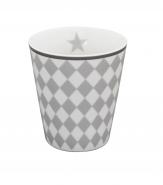 Krasilnikoff Happy Mug Becher Harlekin grau