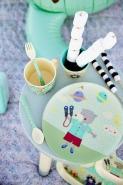 Rice Melamin Kinderteller Happy Camper grün Boy  -tief 20 cm Durchmesser