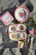 Rice Melamin Kinderteller Happy Camper rosa Girls  -tief 20 cm Durchmesser