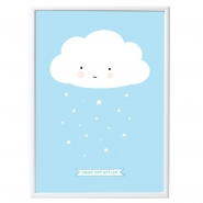 Poster Wolke,blau - A little lovely company
